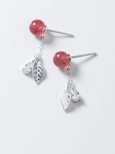 925 Sterling Silver Garnet Red Leaf Trend Drop Earring