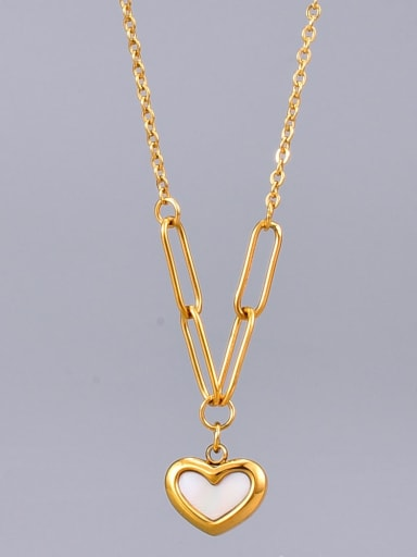 Titanium Shell Heart Minimalist Necklace