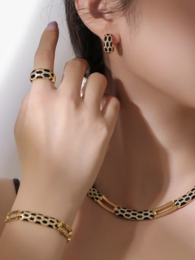 Gold necklace Brass Cubic Zirconia Vintage Snake  Ring Earring Bangle And Necklace Set