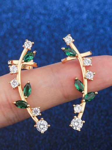 Golden green zirconium Copper Cubic Zirconia Water Drop Dainty Ear Cuff Earring