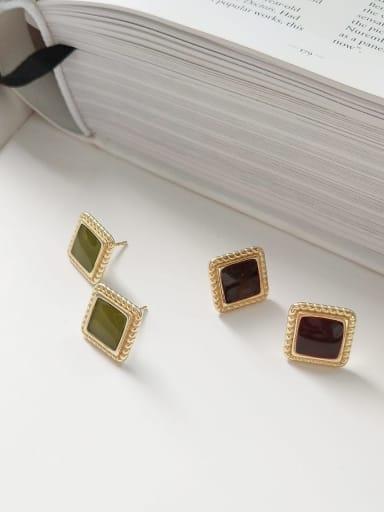 925 Sterling Silver Enamel Square Minimalist Stud Earring