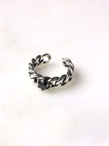 J 263 Black Agate chain ring 925 Sterling Silver  Vintage Hollow chain free size Ring