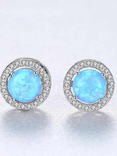 Blue 18H04 925 Sterling Silver Opal Round Minimalist Stud Earring