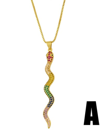 Brass Cubic Zirconia Snake Vintage Necklace