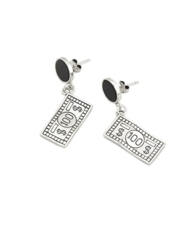 Vintage Sterling Silver With Simplistic Square Drop Earrings