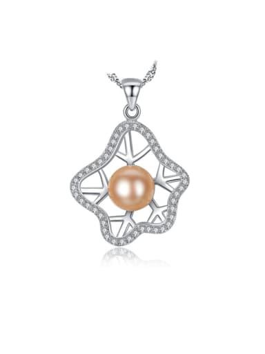 925 Sterling Silver  Fashion zircon Irregular Flower Pendant Necklace