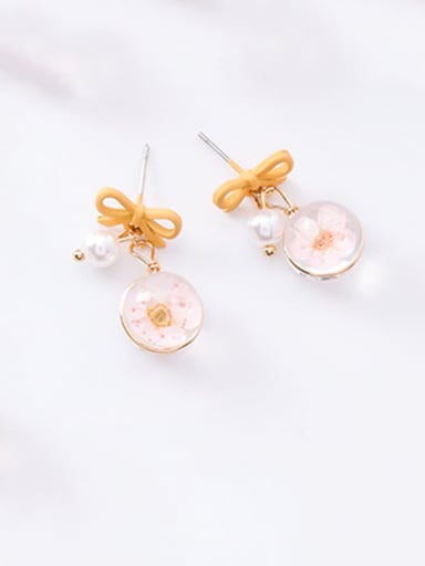 C yellow Zinc Alloy Imitation Pearl Multi Color Enamel Bowknot Cute Drop Earring