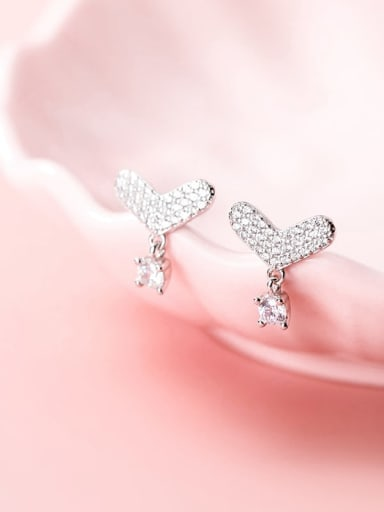 925 Sterling Silver Rhinestone  Heart Dainty Stud Earring