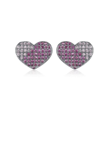 Copper Cubic Zirconia Heart Cute Stud Earring