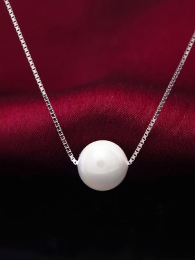 925 Sterling Silver Imitation Pearl Round Minimalist Necklace