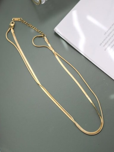 Titanium  Minimalist Vintage double layer snake bone chain