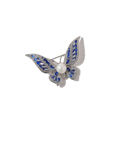 silvery Copper Cubic Zirconia White Butterfly Dainty Brooches