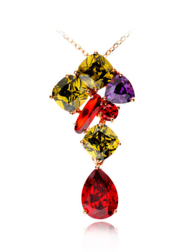 Copper Cubic Zirconia Multi Color Geometric Luxury Necklace