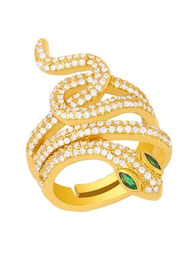 white Brass Cubic Zirconia Snake Vintage Band Ring