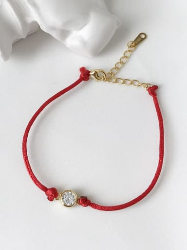 925 Sterling Silver Cubic Zirconia Red Rope  Bracelet