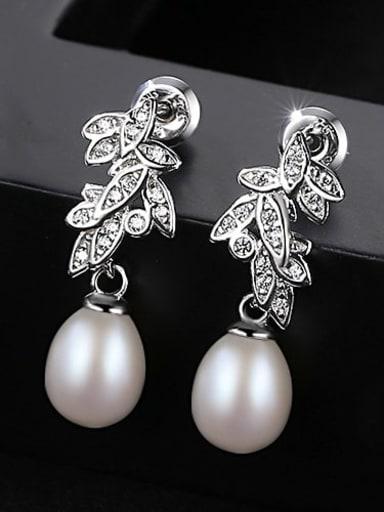 White 1K13 925 Sterling Silver Freshwater Pearl White Leaf Trend Drop Earring