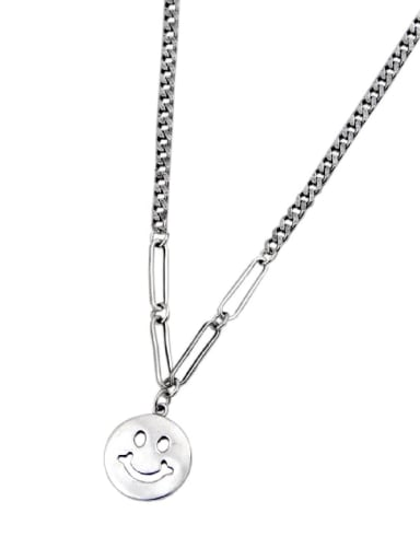 Vintage Sterling Silver With Antique Silver Plated Simplistic Face Necklaces