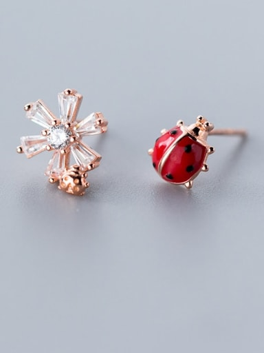925 Sterling Silver  Cute asymmetric flowers beetle Stud Earring