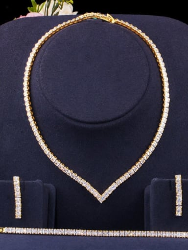 Copper  Luxury Square Cubic Zirconia Earring Braclete and Necklace Set