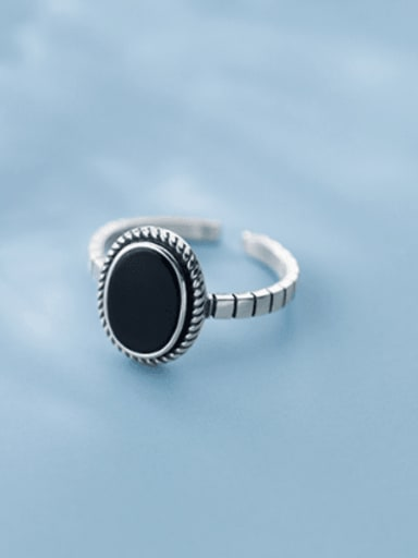 925 Sterling Silver Simple Black Epoxy Oval Free Size  Ring