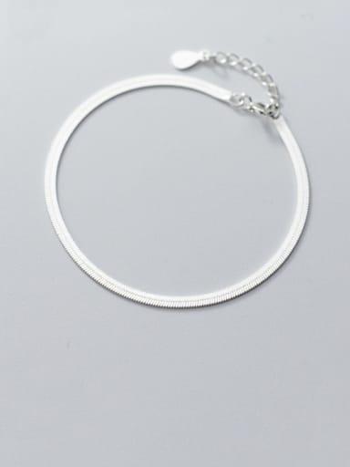 925 Sterling Silver Minimalist Flat snake bone chain bracelet  Link Bracelet