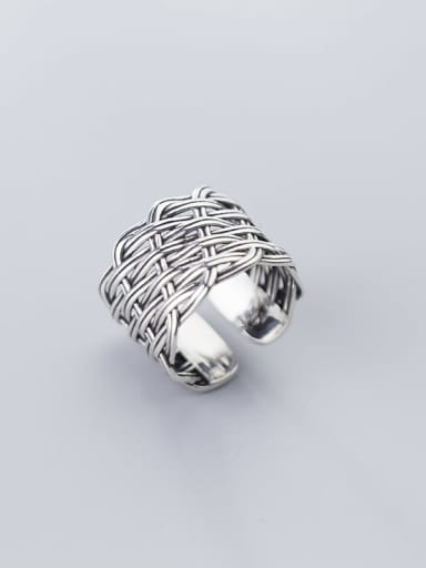 925 Sterling Silver With Antique Silver Plated Vintage Irregular Free size Rings