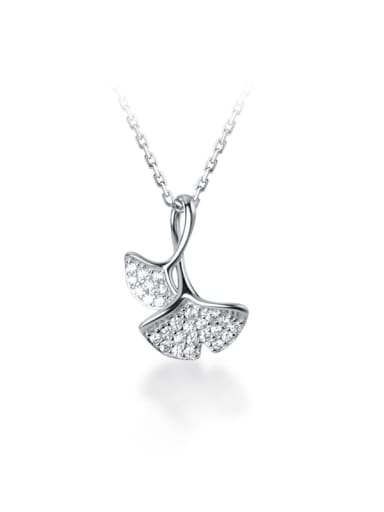 925 Sterling Silver Cubic Zirconia plant diamond double Apricot Leaf Pendant Necklace
