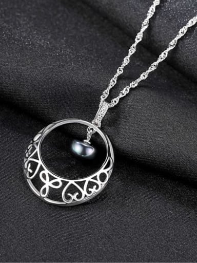 Black 6k11 925 Sterling Silver Freshwater Pearl Hollow Round Pendant Necklace