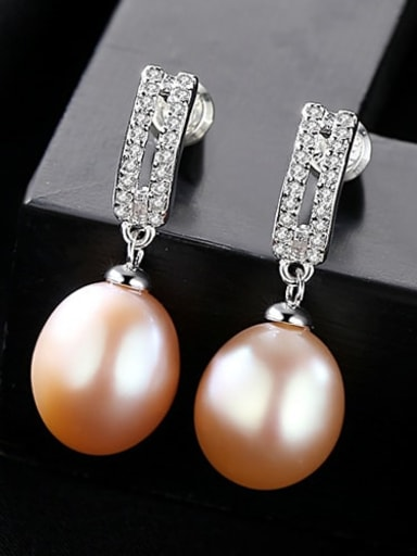 Pink 1A14 925 Sterling Silver with 3A zircon fashion Freshwater Pearl Drop Earring