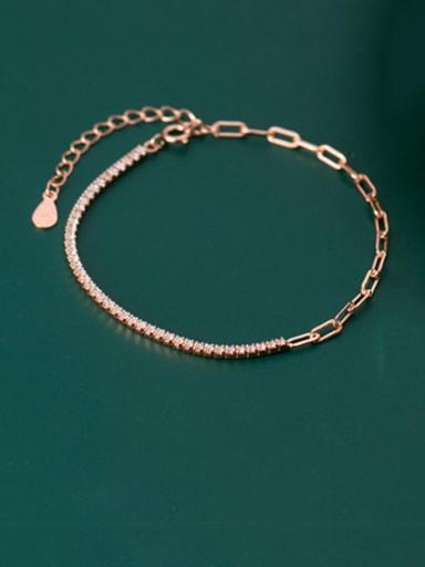 925 Sterling Silver Cubic Zirconia Geometric Dainty Link Bracelet