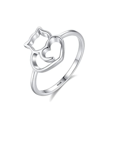 925 Sterling Silver Hollow Cat Minimalist Band Ring