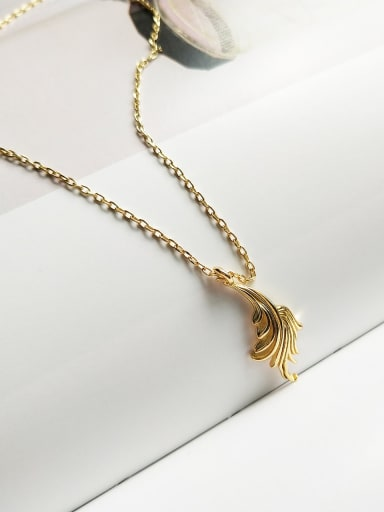 925 Sterling Silver Fashion Gold Leaf Pendant Necklace