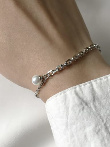 925 Sterling Silver Imitation Pearl White Minimalist Link Bracelet