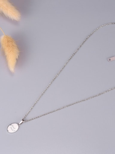 silvery Titanium Letter Good Luck Necklace