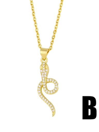 B gold+white Brass Cubic Zirconia Snake Ethnic Necklace