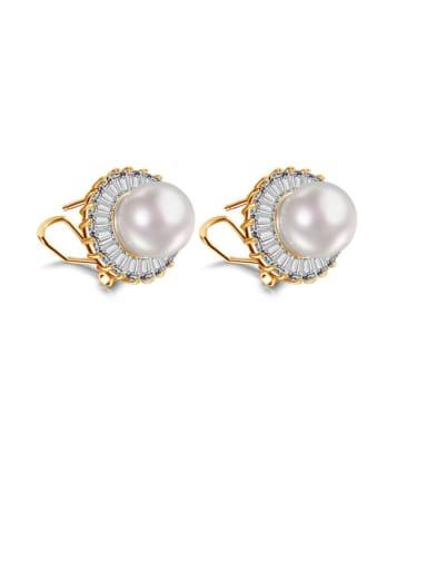 Copper Imitation Pearl Flower Minimalist Stud Earring
