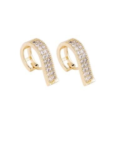 Brass Rhinestone White Irregular Minimalist Stud Earring