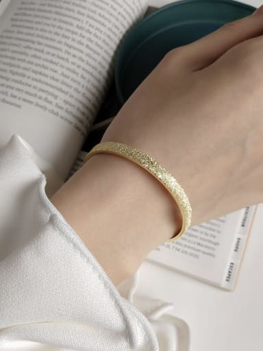 925 Sterling Silver Simple personality retro gold flash sand  Band Bangle