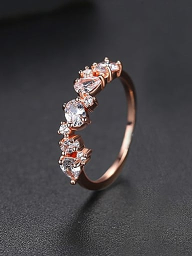 Rose Gold  US 7 Copper Cubic Zirconia Irregular Minimalist Band Ring