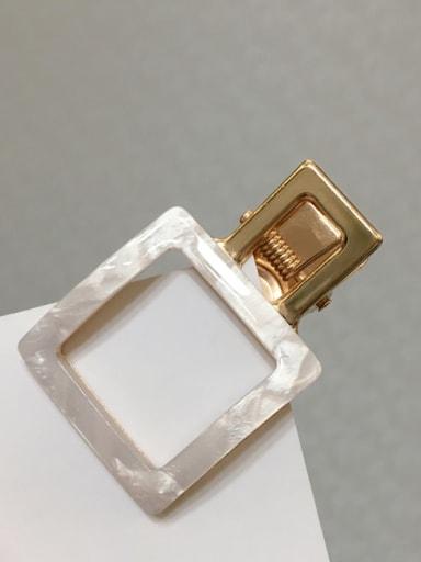 Square white Alloy Cellulose Acetate Minimalist Geometric Hair Barrette