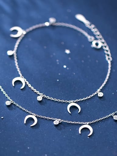 925 Sterling Silver Rhinestone Moon Minimalist  Anklet