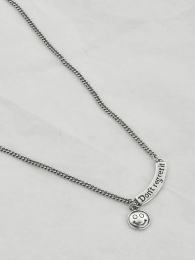 40+5cm(7.2g) Vintage Sterling Silver With Platinum Plated Fashion Smiley Necklaces