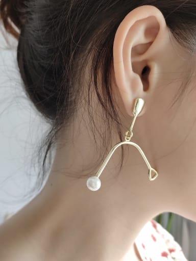 925 Sterling Silver Imitation Pearl  Irregular Minimalist Hanger Stud Drop Earring