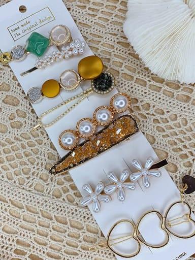Pearl Flower eight piece set Alloy Resin Popular eight-piece suit Bangs clip Mermaid Hairpin Headgear