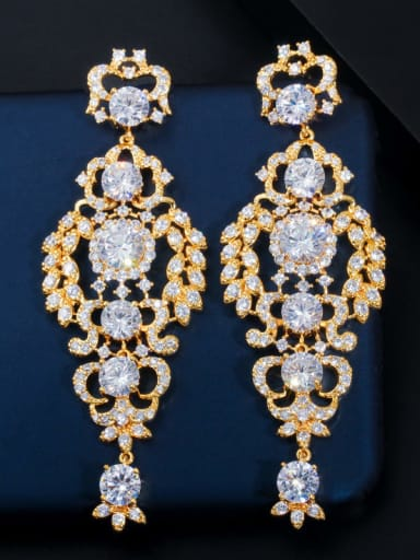 gold Brass Cubic Zirconia Flower Luxury Cluster Earring