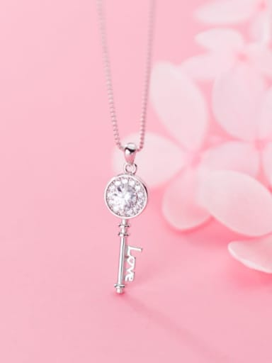 925 Sterling Silver Cubic Zirconia Cute micro diamond key Necklace