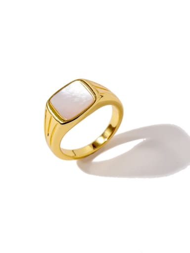 Golden white Copper Square Minimalist Band Ring