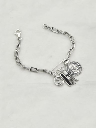 Vintage Sterling Silver With Simple Retro Hollow Chain Tassel Pendant Bracelets