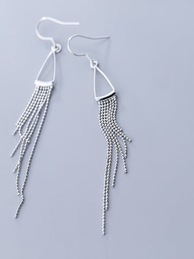 925 Sterling Silver Vintage Beads tassel hollow triangle  Earring