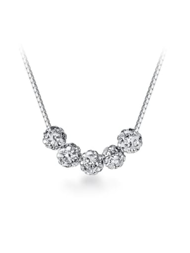 925 Sterling Silver Simple removable diamond pendant Necklace